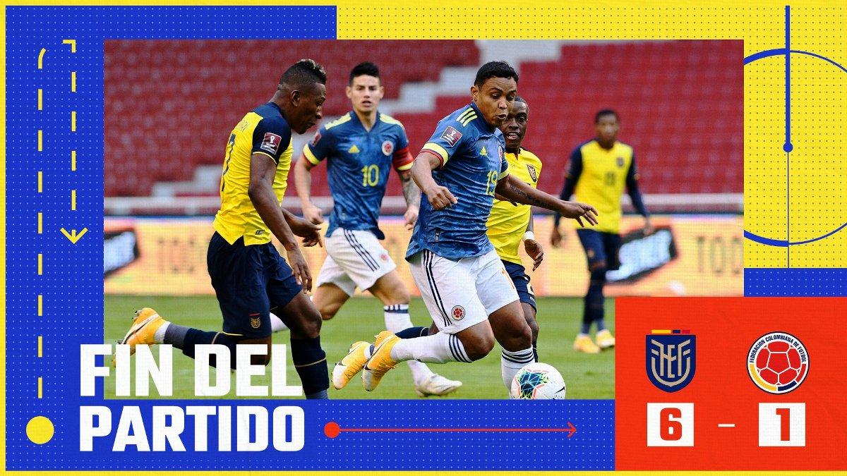 Ecuador goleó  6 – 1 a la selección Colombia