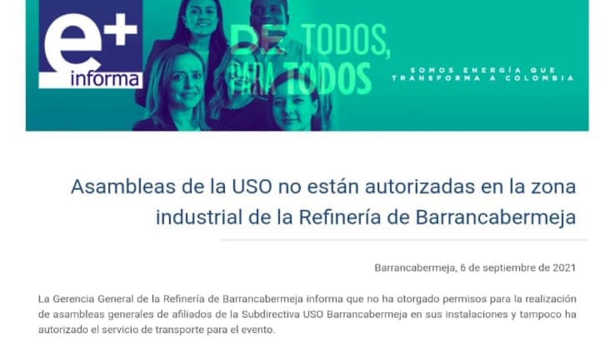 """Ecopetrol no garantiza el libre ejercicio de la actividad sindical"": USO B/bermeja"