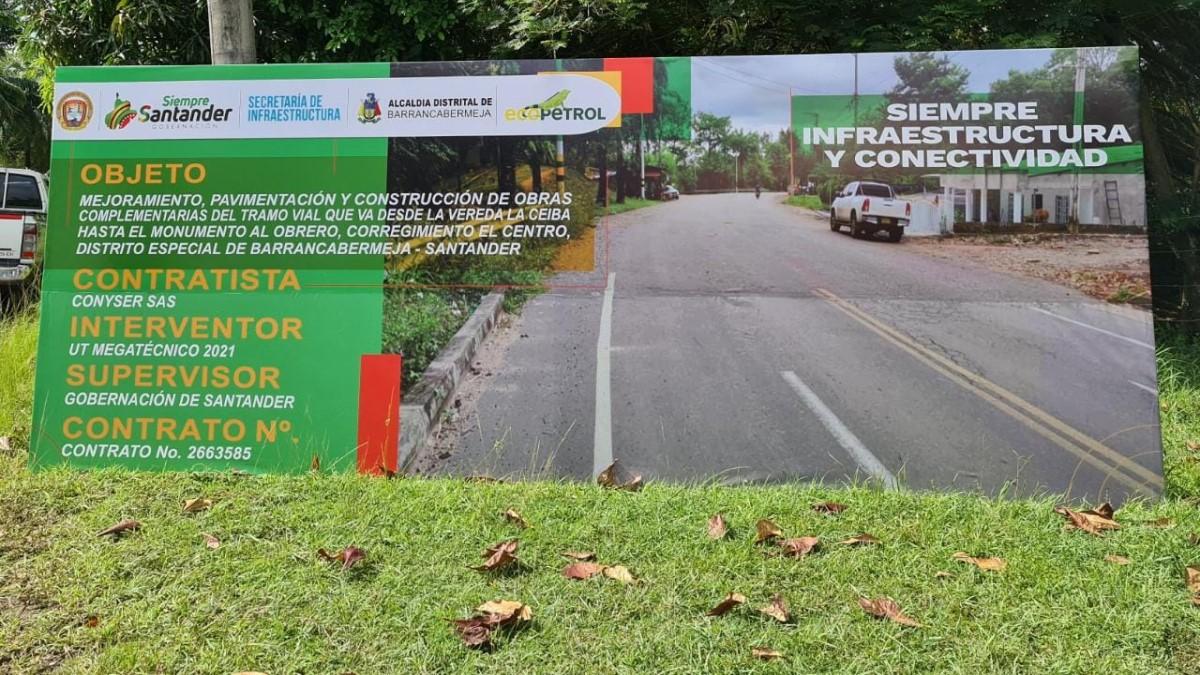 Inició pavimentación de vía desde La Ceiba hasta el monumento al Obrero de El Centro