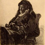 The Arist Mother Seated, in Widow's dress and Black Gloves