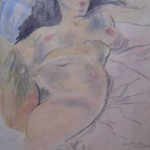 Reclining Nude with Black Hair