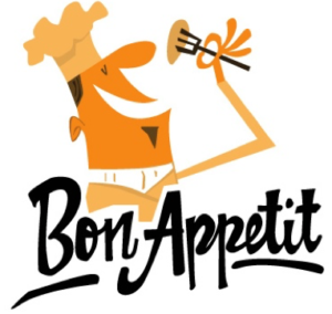 "Cartoon chef eating with text ""Bon Appetit"""