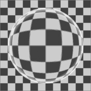 Checkerboard background with water drop on top changing the pattern.
