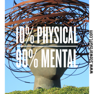"""A concrete head sculpture with metal rings around the top with text """"10% PHYSICAL 