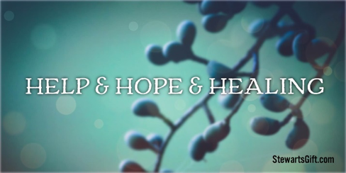 "Grape Vine with text ""HELP & HOPE & HEALING"""