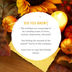 "Text ""DID YOU KNOW? The holidays are researched to be a leading cause of stress, anxiety, depression, and grief. Not feeling the warmth of the season? You're in like company. Learn how to cope this holiday season."""