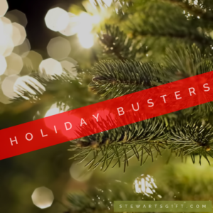 """Pine Tree with text """" HOLIDAY BUSTERS"""""""