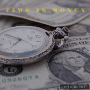 "Old pocket watch and money with text ""TIME IS MONEY"""