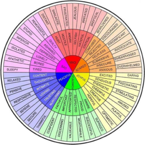 Wheel with different feeling and emotions listed