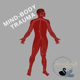 "Illustrated Human body and nervous system with text ""MIND-BODY TRAUMA"""