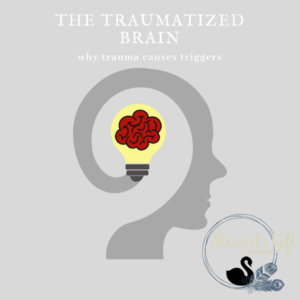 "Illustrated head with brain inside text ""THE TRAUMATIZED BRAIN"""
