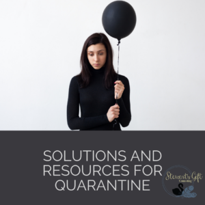 """Woman with black balloon with Text """"SOLUTIONS AND RESOURCES FOR QUARANTINE"""""""