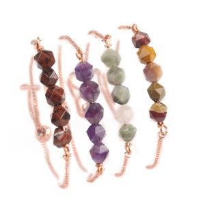 Boho Snake Style Bracelet with 5 Stones Gold Tone 5