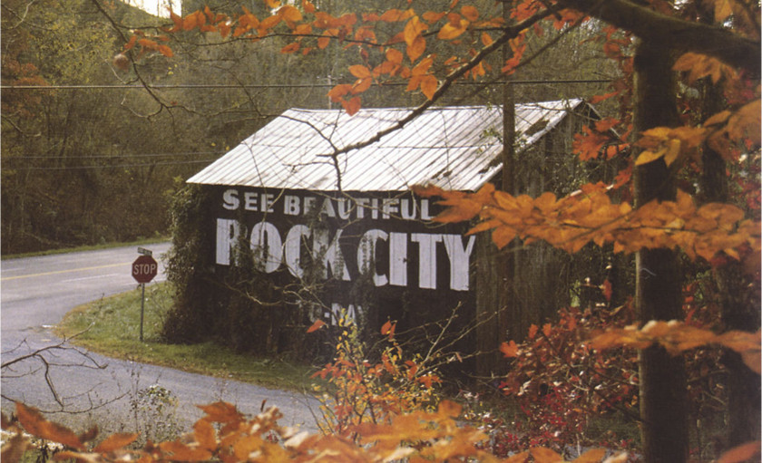 Barn in fall with 'See Beautiful Rock City' sign