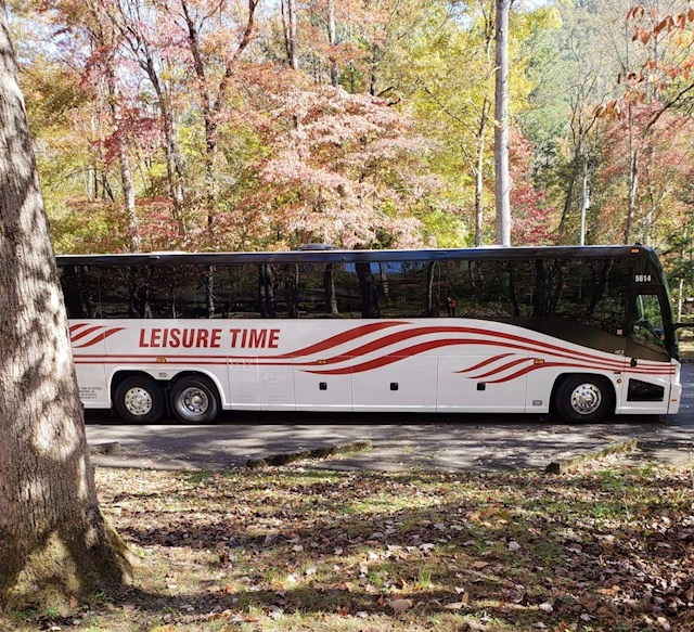 Bus in the fall leaves