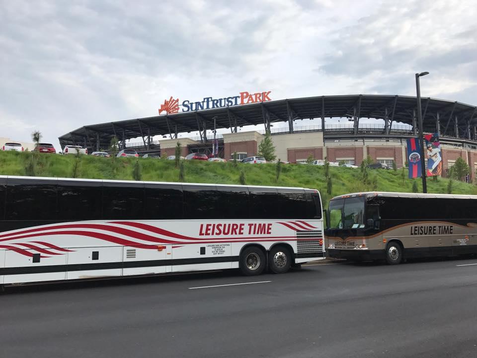 Buses in front of SunTrust Park in Atlanta