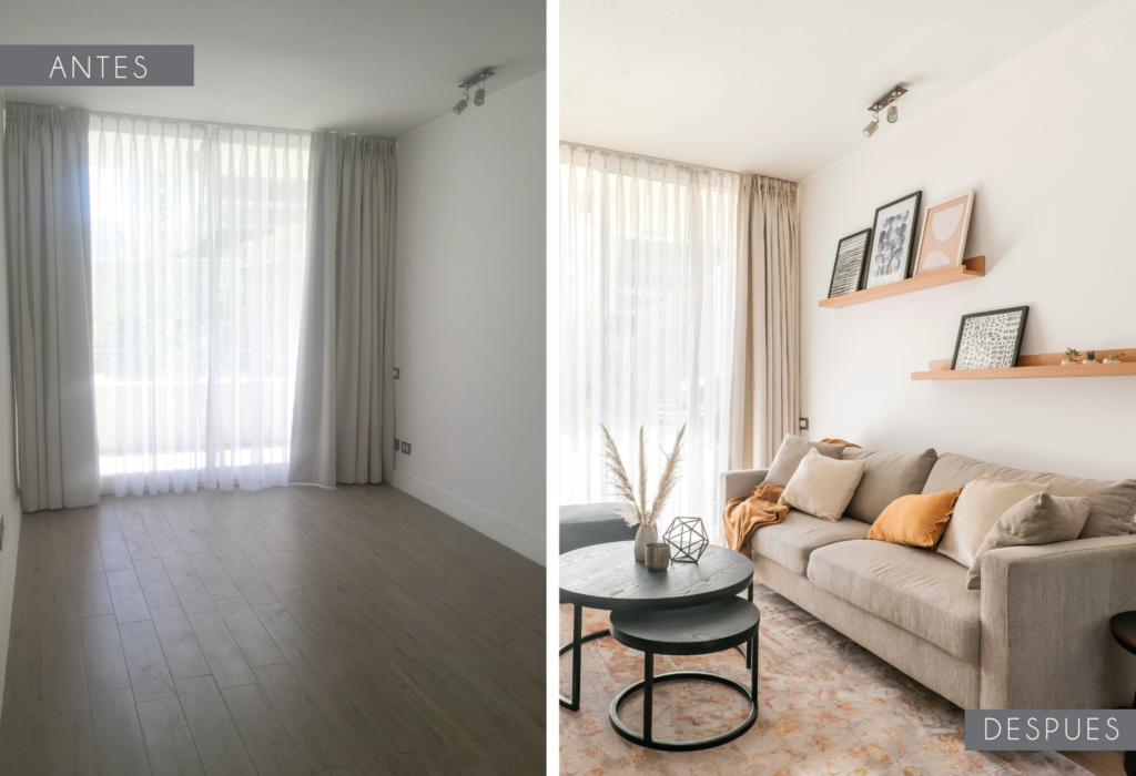 antes y despues living contemporaneo