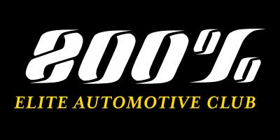 800 percent elite auto club logo white gold