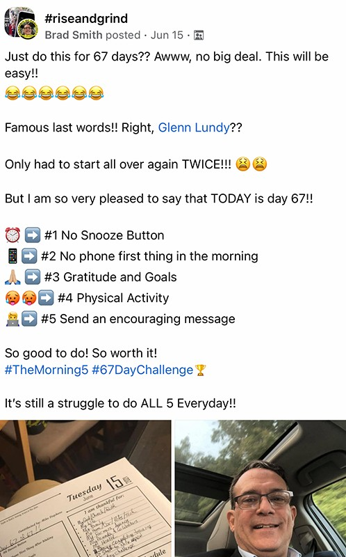 67 day challenge social post