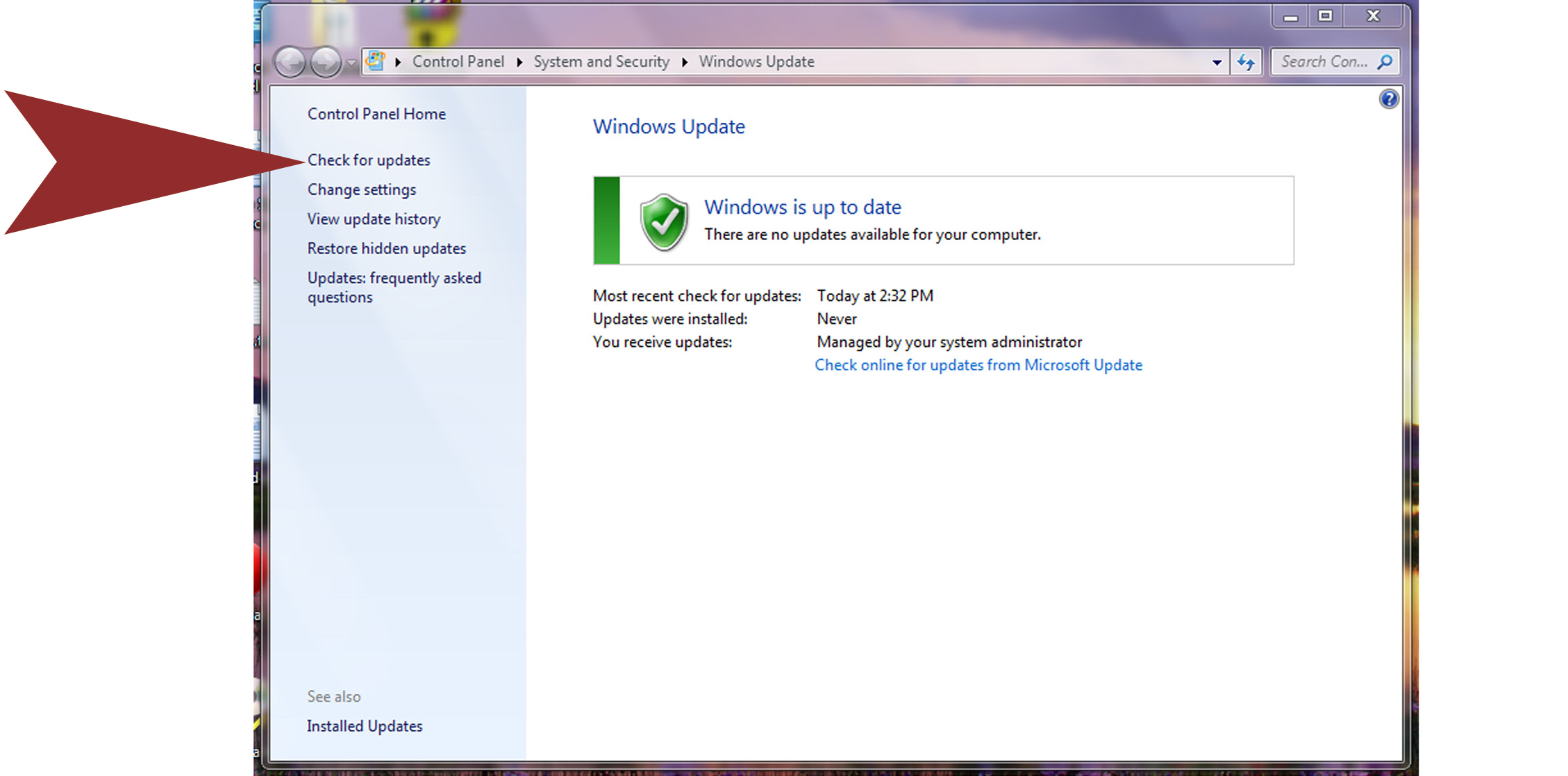 screenshot of Windows Updates