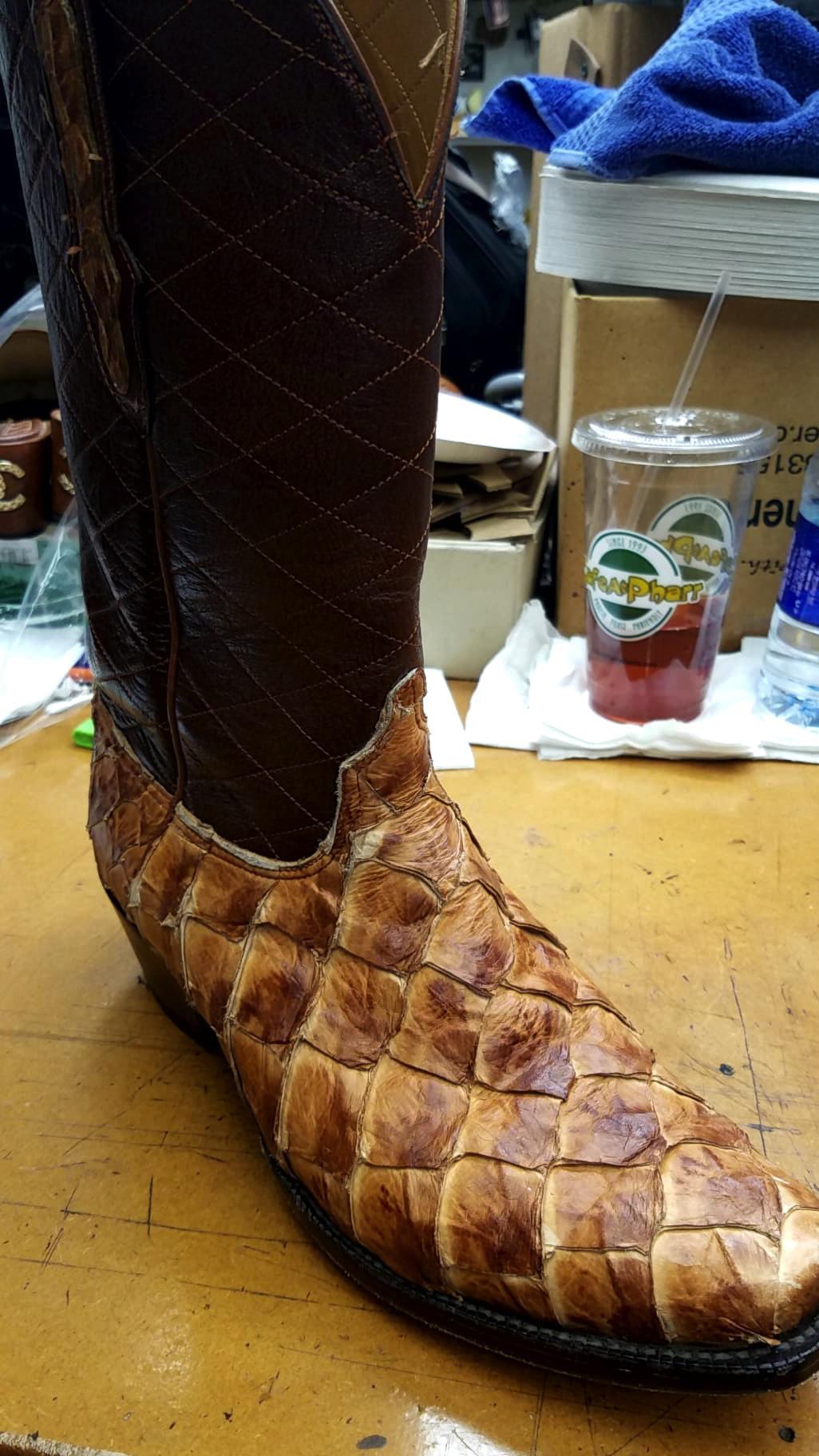 custom made fish skin boots.