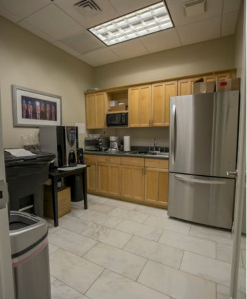 The kitchen of an office building in Boca Raton.