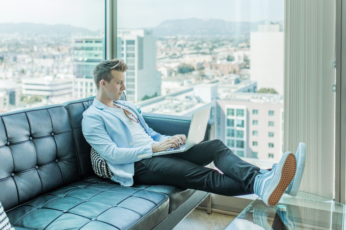 Man working in a luxurious office space