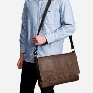 man wearing a Corkors messenger bag
