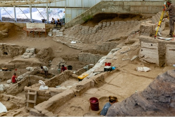 Archaeologists excavating a historical site
