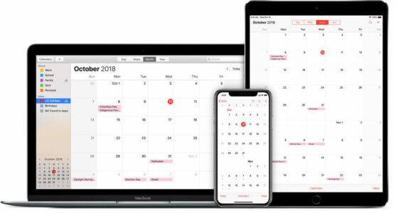 Screenshot of Apple Calendar  app interface