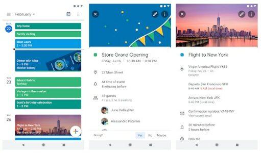 Screenshot of Google Calendar app interface