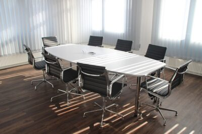 An example of a boardroom layout for meeting rooms.