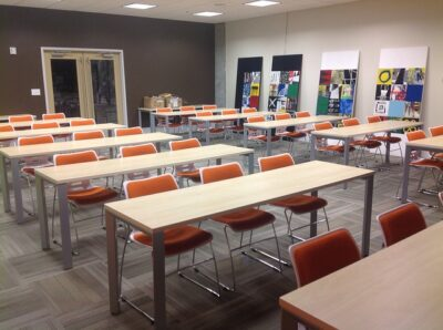 An example of a classroom layout for meeting rooms.