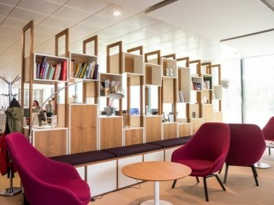 A small office using space-saving furniture.
