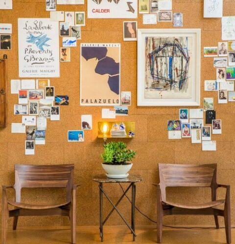 A cork wall idea for an office notice board.