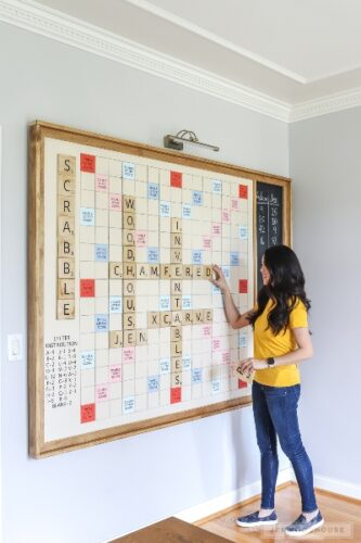 A giant wall scrabble idea for an office notice board.