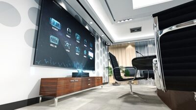 An example of a modern office that uses the latest video conference technology.