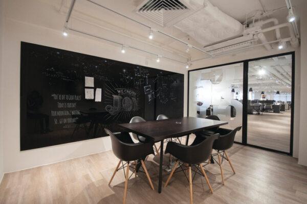 A wall chalkboard idea for an office notice board.