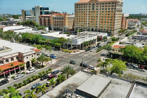 An aerial view of Coral Gables, one of the best places to live in South Florida.