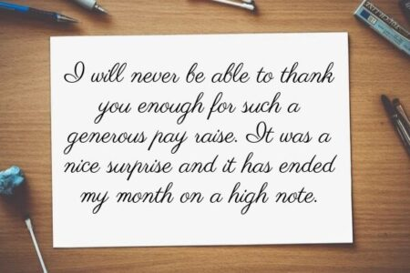An example of a great thank you message to boss handwritten on a piece of paper.