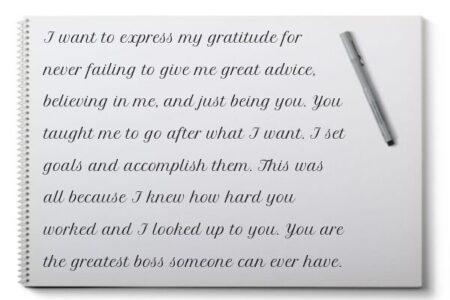 An example of handwritten appreciation message for boss
