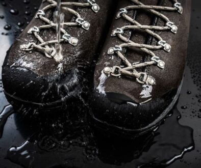 A pair of waterproof work shoes.
