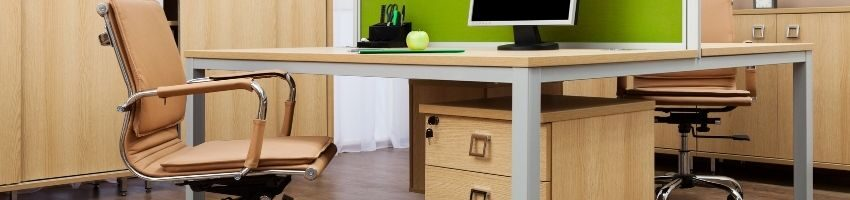 A beautiful picture of Modern office chair and desktop table at the office