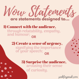 goals of speech introductions, purpose of wow statements