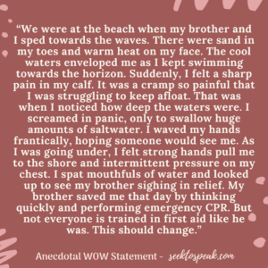 anecdotal wow statements, story introduction, first aid