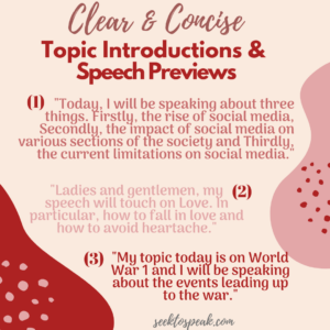 previewing speech and topic introductions