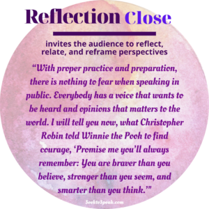 reflection close, conclusion, closing strategies, seek to speak