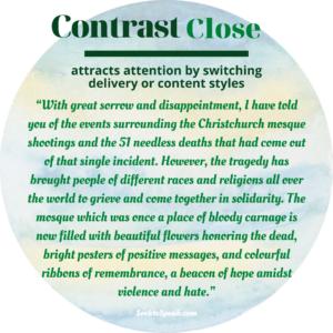 contrast close, conclusion, closing strategies, seek to speak