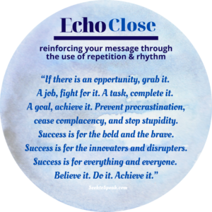 echo close, conclusion, closing strategies, seek to speak