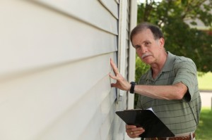 Adult male inspects home siding